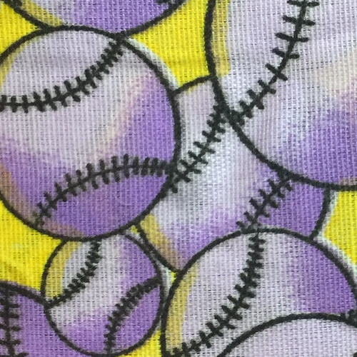 Cotton Purple and Yellow Baseball Print